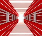 Czerwony pokój z półką — Zdjęcie stockowe