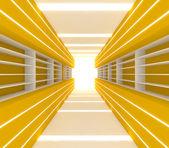 Chambre jaune avec étagère — Photo