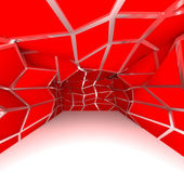 Empty room red diagonal wall — Stock Photo