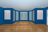 Sala de estar azul vazia — Fotografia Stock