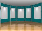 Blue gallery room — Stock Photo