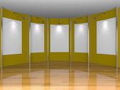 Galerie met gele kamer — Stockfoto