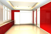 Red office interior — Stockfoto