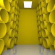 Abstract sphere yellow room shelves — Stock Photo