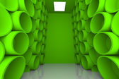 Abstract sphere green room shelves — Stock Photo