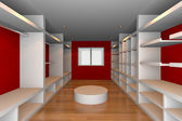 Red walk-in closet — Stock Photo