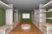 Yeşil duvar ile gömme dolap — Stok fotoğraf