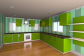 Kitchen room with green wallpaper — Stock Photo