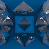 Blue empty room with diamond — Stock Photo