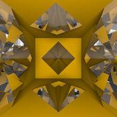 Orange empty room with diamond — Stock Photo