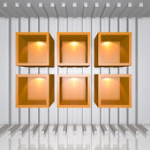 3D orange shelves — Stock Photo