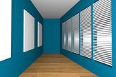 Blue gallery room — Stock fotografie