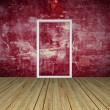 图库照片: Red Empty Room with Door