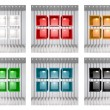 Stock Photo: Set of 3D colourful shelves