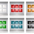 Foto Stock: Set of 3D colourful shelves