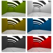 Set of Colorful Empty Room Curve Ceiling — Stock Photo