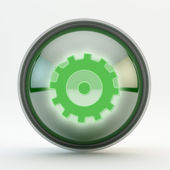 Knop instellingen groen glas — Stockfoto