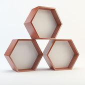 Three blank hexagon wood box — Stock Photo