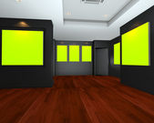 Empty room interior with green chromakey backdrop canvas — Stock Photo