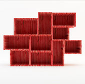 Red Wooden book Shelf — Stock Photo