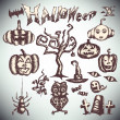 Halloween set draw hand — Stock Vector