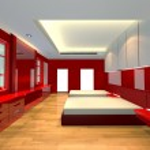 Ineterior design bedroom red theme — Stock Photo
