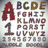 Hand drawing alphabet and numbers — Vector de stock