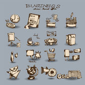 Doodle business set — Stock Vector