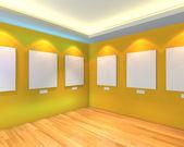Leeren raum gelb galerie — Stockfoto