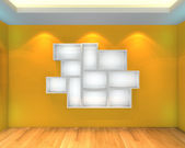 Abstract Shelves with yellow empty room — Stock Photo