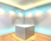 White glass box showcase — Zdjęcie stockowe