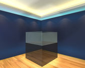 Vitrine de boîte de verre bleu — Photo