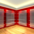 Glass shelves in red empty room — Stock Photo