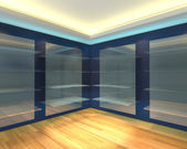 Blue shelves in brown empty room — Stock Photo