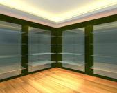 Yeşil boş odada cam raflar — Stok fotoğraf