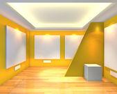 Galería sala vacía amarillo — Foto de Stock