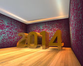 Happy New Year - 2014 in Empty room — Foto Stock