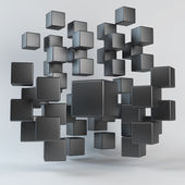Abstract black geometric shapes from cubes — Stock Photo