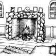 Hand drawing Interior Design for living room with fireplace — Stock Photo