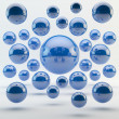 Stock Photo: Abstract blue geometric shapes from rounds