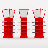 Color red shelves design — Stock Photo