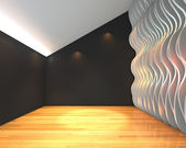 Abstract black empty room with wave wall — Stock Photo