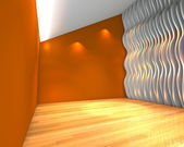 Abstract orange empty room with wave wall — Stock Photo