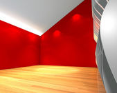 Abstract red empty room with wave wall — Stockfoto