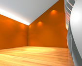 Abstract orange empty room with wave wall — Foto Stock