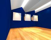 White canvas on blue wall — Zdjęcie stockowe