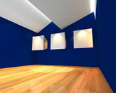White canvas on blue wall — Stock Photo