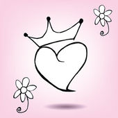 Crown with heart — Stock Vector