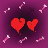 Candy et cherry coeurs amour fond — Vecteur