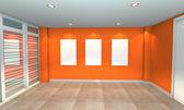 Orange interior gallery — Stock Photo
